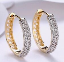 Crystal Zircon Hoop Earrings 24MM  Jewellery creoles 18k Gold Free Gift  Box