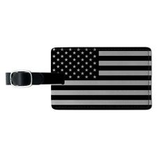 Subdued American USA Flag Black White Rectangle Leather Luggage Card ID Tag