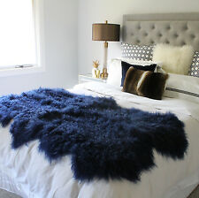 MONGOLIAN SHEEPSKIN FUR BED THROW & RUNNER QUATRO - NAVY BLUE