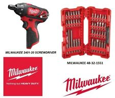 New Milwaukee 2401-20 12V Lithium-Ion Cordless 1/4 in Hex Screwdriver & Bit Set