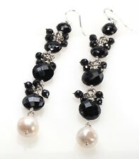 Gemstone Faceted Black Onyx & White Pearl Cluster Drop Dangle Silver Earrings