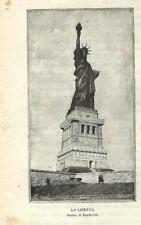Stampa antica NEW YORK Statua della Libertà 1893 Antique Print