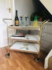Vintage Drinks Tea Hostess Cocktail Gold Trolley 2 Handles 3 Tiers Removable Top