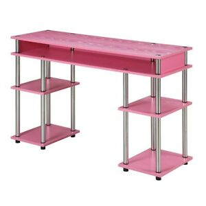 Convenience Concepts Designs2Go No Tools Student Desk, Pink - 131436PK