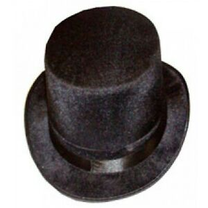 Mens Gents Unisex Top Hat Indestructible Men's Black Velour Topper Hat 1920s