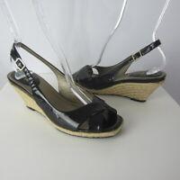 Cole Haan Womens 7 B Black Patent Leather Slingback Espadrilles Wedge Peep Toe