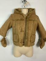 BOYS LADYBIRD BROWN CASUAL HOODED FAUX SUEDE WINTER COAT KIDS AGE 9/12 MONTHS