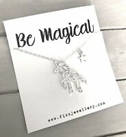 "Silver Origami Unicorn ""Be Magical"" 18"" Necklace Message Card Necklace Gift"