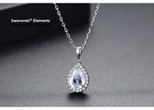 Collier chaîne pendentif goutte d'eau Swarovski® Element top qualité transparent