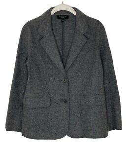 TALBOTS Women's Gray Knit Soft Boiled Wool Cardigan Sweater Blazer Sz 6P