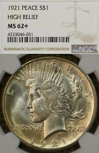 1921 $1 NGC MS62+ Peace Silver Dollar, Plus Graded, Key Date, Centennial
