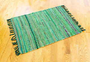 Hand Woven Overdyed Solid Rag Rug, Green, 2'x3'