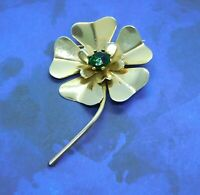 Antique Vintage Brooch Large Gold Tone Flower Green Glass Rhinestone
