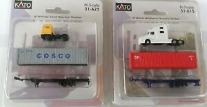 Volvo Highway & Yard Truck Tractor Trailer w/40' Container and Chassis N (2pack)