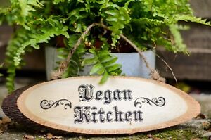 Vegan Kitchen Hanging Wood Home  Decoration Food Rustic Outdooror Sign Gift