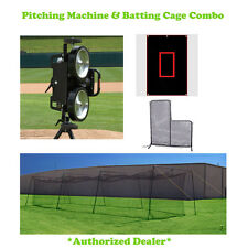 Bulldog 2 Wheel Baseball Machine & 70 Ft Batting Cage With L-screen & Backdrop
