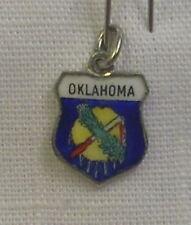 Vintage REU Sterling/Enamel Oklahoma State Flag Bracelet/Travel Charm - NOS