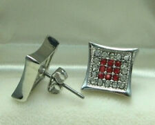 Men White Gold Plated stud earrings with Red & White CZ