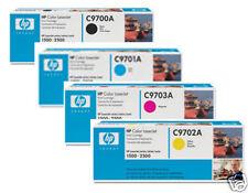 4 TONER ORIGINALE HP COLORLASERJET 1500l 1500n 2500/c9700a c9701a c9702a c9703a