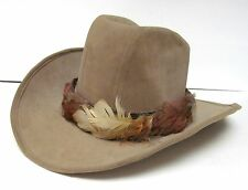 """FELT WESTERN COWBOY """"CATTLEMAN"""" Hat With Feather Band Men's L"""