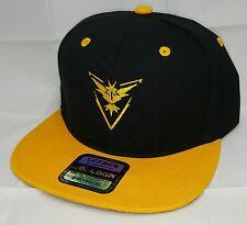 Pokemon GO TEAM INSTINCT Embroidered Snapback Hat Black Yellow SNAPBACK CAP fbc171a4bdc0
