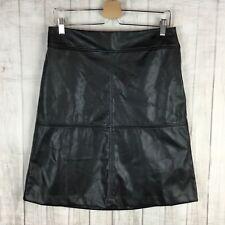 Alfani Women's Black Faux Vegan Leather Stretch A-Line Knee Length Skirt Size 4