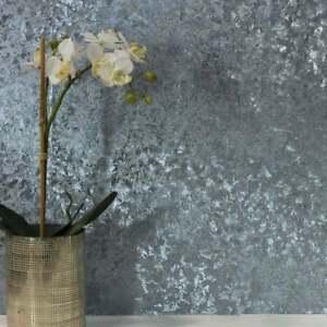 Arthouse Velvet Crushed Foil Blue Luxury Metallic Wallpaper 294303