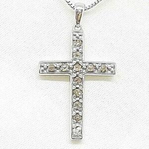 Genuine .52ctw H-SI Diamond 925 Sterling Silver Cross Necklace 3.3g