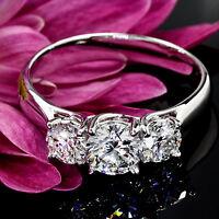 3 Three Stone 2.40 Carat SI2/H Round Cut Real Diamond Engagement Ring White Gold