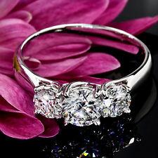 4 claw 3 Stone 1 Carat VS2/H Round Cut Diamond Engagement Ring 14k White Gold