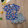 US Summer Toddler Baby Kids Clothes Boys Outfits Sets Short Shirt + Short Pants