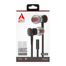 Sentry Active HA100 Earphones  Stereo Earbuds Handsfree with Mic, Black