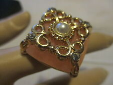 AVON BELLE AND BLUSH SQUARE RING - Frosted Faux Stones Embellished Filigree   6