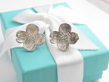 Rare Auth Tiffany & Co Silver Large Nature Dogwood Flower Earrings