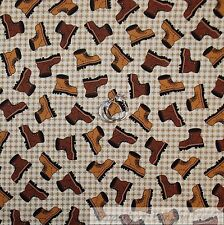BonEful Fabric Cotton Quilt VTG Cream Brown Boy Scout S Boot Hunting Small SCRAP