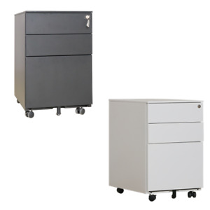 Requena 3 Drawers Mobile File Cabinet with 5 wheels Assembled Lockable with Key