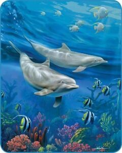 "New 79""x 96"" Queen Size Dolphins Blue Ocean Fish Mink Blanket Super Plush Fleece"