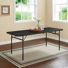 6 Foot Bi-Fold Plastic Folding Table Black w Carry Handle Party Picnic Occasion