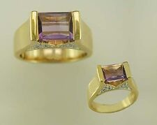 18 KT GOLD OVER STERLING SILVER AMETHYST & DIAMOND RING-8