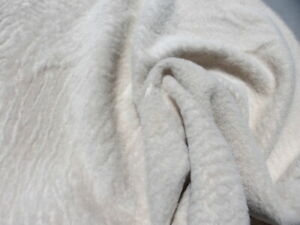 sheepskin shearling leather hide Ultrathin Bone White ripple hair w/smooth back