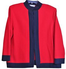 St. John Collection Red Sweater Black Jacket Marie Gray Hook & Eye Front Sz 14