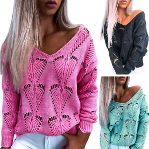 Womens V Neck Long Sleeve Knitted Sweater Ladies Loose Hollow Jumper Pullover