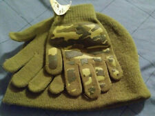 Faded Glory Camo Olive Winter Beanie/Knit Hat & Gloves Set Brand New with Tags