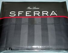 Sferra Presidio Duvet Cover Queen Indigo Stripe 590TC Egyptian Cotton Sateen NEW