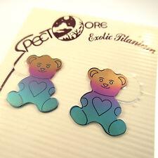 Spectore Teddy Bear Stud Earrings Multicolor Titanium Hand Colored Rainbow NWT