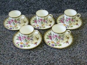 5 x Aynsley Mikado China Coffee Cups & Saucers . Coffee Can Set