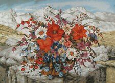 WALL JACQUARD WOVEN TAPESTRY Mountain Bouquet with Red Poppies EURO FLORAL DECOR