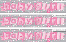 BABY GIRL GIANT FOIL WALL BANNERS, BABY SHOWER/ NEW BABY DECORATIONS (EW)