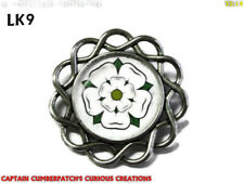 steampunk brooch pin badge Yorkshire white rose House of York #LK09