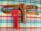 Western 1880's Style Leather Cartridge Gun Belt with Two Slide Revolver Holsters